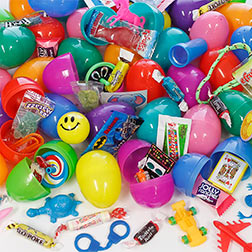 "FILLED PLASTIC EASTER EGGS 2-1/3"" WITH 1 TOY & 1 CANDY"